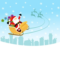 Santa flying with sleigh vector