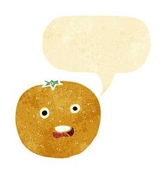 Cartoon orange with speech bubble vector
