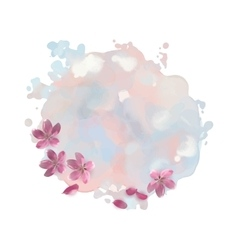 Watercolor spot with cherry blossom flowers vector