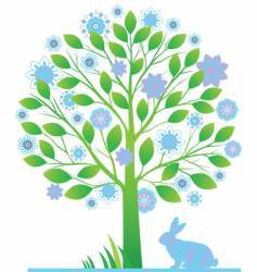 Tree with rabbits vector