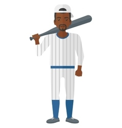 Baseball player standing with bat vector