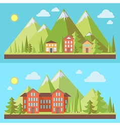 Mountain resorts landscapes vector