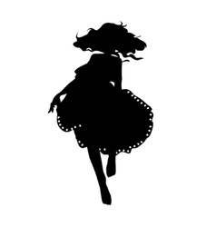Silhouette of a dancing girl in fluffy skirt vector