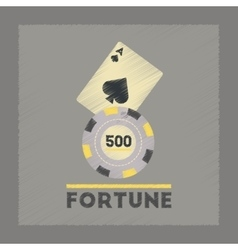 Flat shading style icon fortune chip card vector