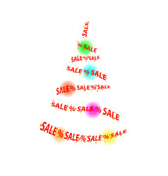 Abstract sale in the store christmas tree balls vector