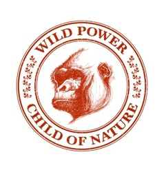 Ape head logo in red and white vector image