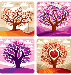 Art graphic of stylized tree and peaceful pu vector image vector image