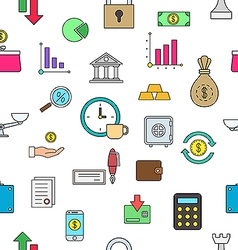 Banking colorful pattern icons vector