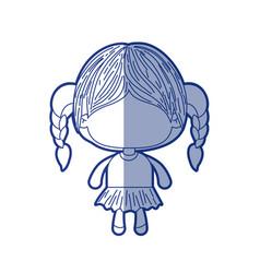 Blue shading silhouette of faceless little girl vector
