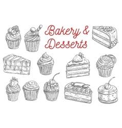 Cake cupcake fruit dessert and berry pie sketch vector image