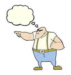 Cartoon angry tough guy pointing with thought vector