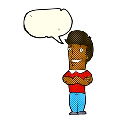 Cartoon man with folded arms grinning with speech vector