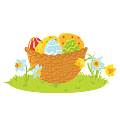 easter decorative eggs in a basket with flowers vector image