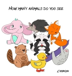Educational game how many animals do you see vector