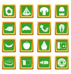 Food icons set green vector