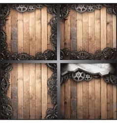Gear wheels on wooden background vector