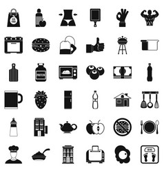 Good breakfast icons set simple style vector