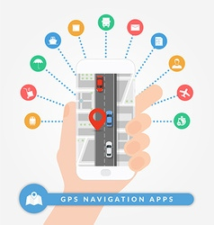 GPS navigation apps on mobile phone Road vector image vector image