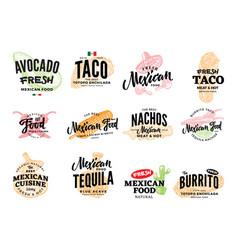 hand drawn mexican food logos vector image
