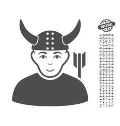 Horned warrior icon with bonus vector
