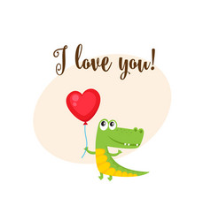 I love you card with crocodile holding heart vector