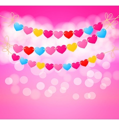 Love heart bunting background vector