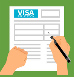 Man hands filling out visa application vector