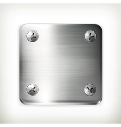 Metal plate with screws vector image