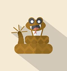 Modern Flat Design Rattlesnake Icon vector image