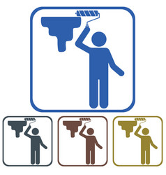 painter with paint roller icon vector image