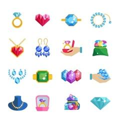 Precious jewels icons flat vector