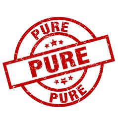 Pure round red grunge stamp vector