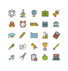 School Outline Color Icon Set vector image