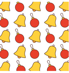 seamless pattern christmas bell and ball vector image