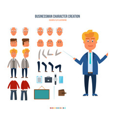 set objects which create character businessman vector image vector image