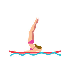 Woman practicing sup yoga on paddle board vector