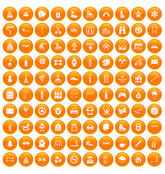 100 children activities icons set orange vector image