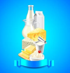 Dairy products on each other and blue ribbon for vector