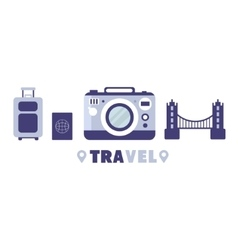 Touristic trip to europe travel symbols set by vector