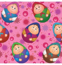 Seamless dolls and abstract pattern vector