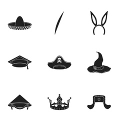 Hats set icons in black style big collection of vector