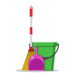 plastic bucket dustpan and broom vector image