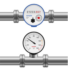 Water pipe pressure meter vector