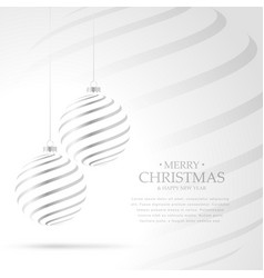 Hanging silver christmas balls on white background vector