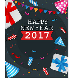 Happy new year greeting card design with confetti vector