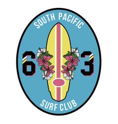 Vintage surfboard badge vector