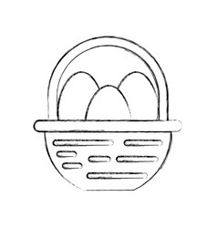 Straw basket with eggs vector