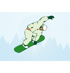 Snowboarding on air green snowboard vector
