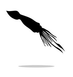 squid black silhouette aquatic animal vector image