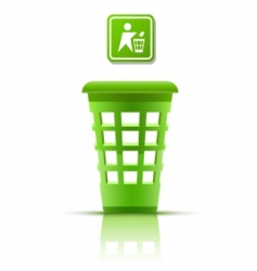 Green garbage basket with indicator vector
